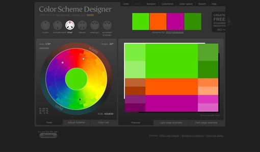 基本色から簡単に補色や類似色などを割り出せる「Color Scheme Designer 3」