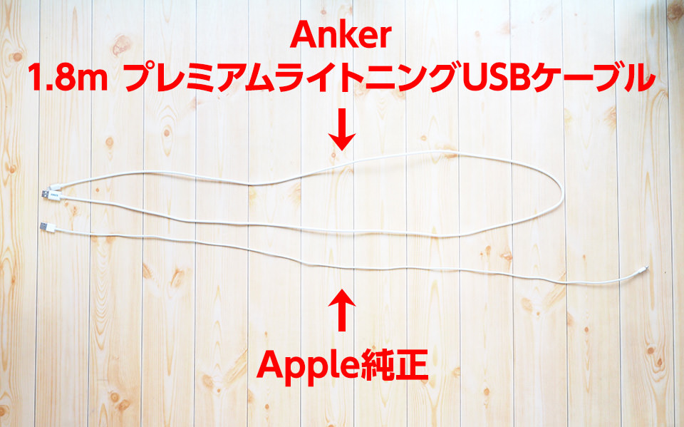 さすがはロングサイズ。Apple純正の2倍近くあるぞ。