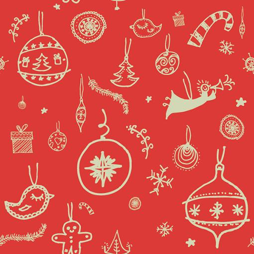 かわいらしい手描き風のクリスマスイメージパターン素材