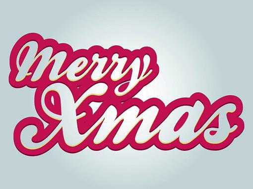 メリークリスマスのタイポグラフィー