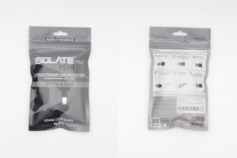 ISOLATE(R) MiNi PRO Earplugs のパッケージ表面と裏面