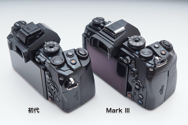 E-M1初代とMarkⅢ_背面グリップ側